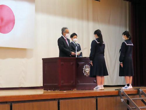 蒲郡ロータリークラブ表彰並びに大塚中学校同窓会入会式